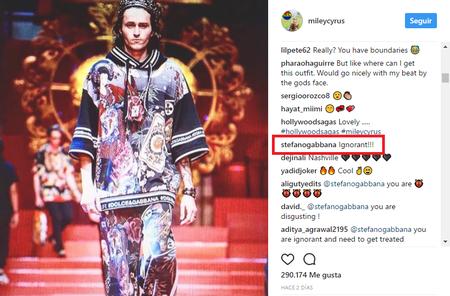 miley cyrus dolce gabanna instagram enfrentamiento redes sociales