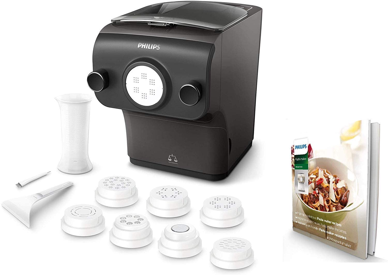 Philips Máquina para hacer pasta fresca HR2382/15 - pasta fresca en menos de 10 min, tecnología de peso automático, capacidad para 600 g, 8 variedades de pasta, color negro
