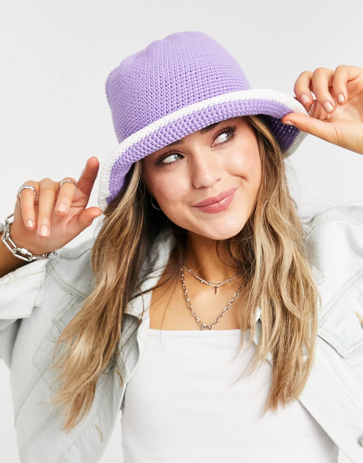Sombrero de pescador lavanda de croché de ASOS DESIGN