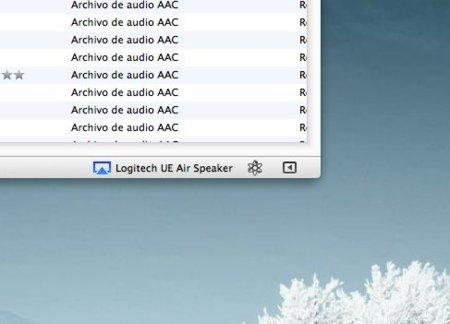 Captura de pantalla de iTunes conectado por AirPlay a los Logitech Air Speaker