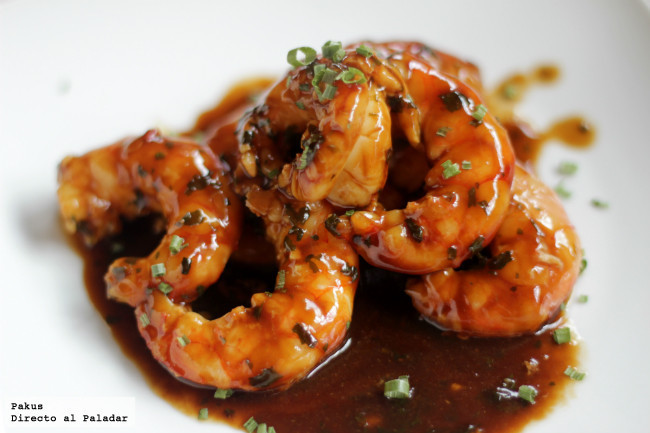 gambones en salsa de ostras tapas