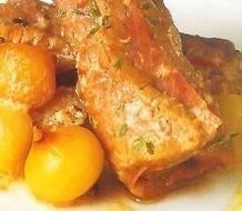 Rollitos de ternera con salsa de nueces