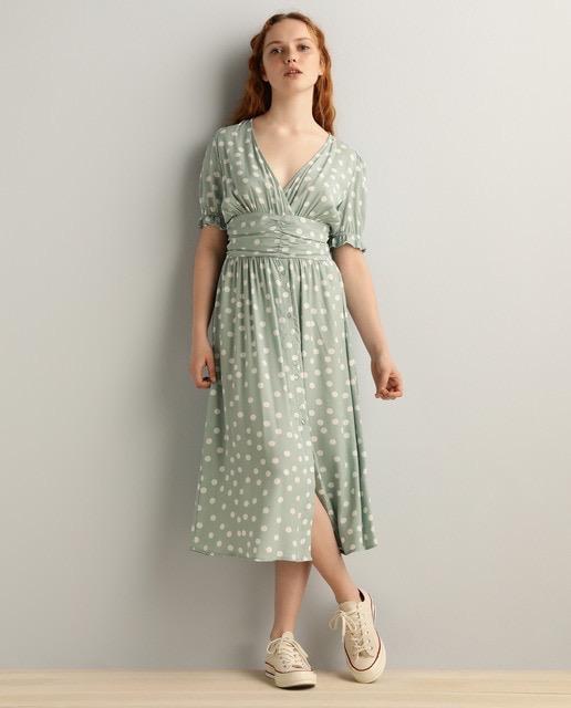Vestido midi de lunares verde