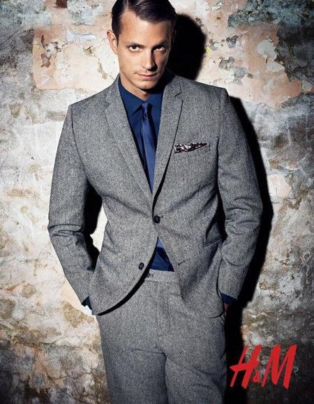 Traje mezcla lana gris H&M campaña Otoño 2012