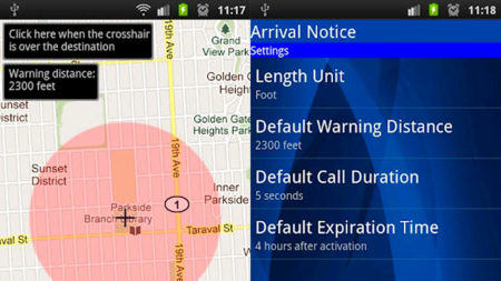 Arrival Notice, aplicación que realiza una llamada perdida cuando llegamos a un sitio
