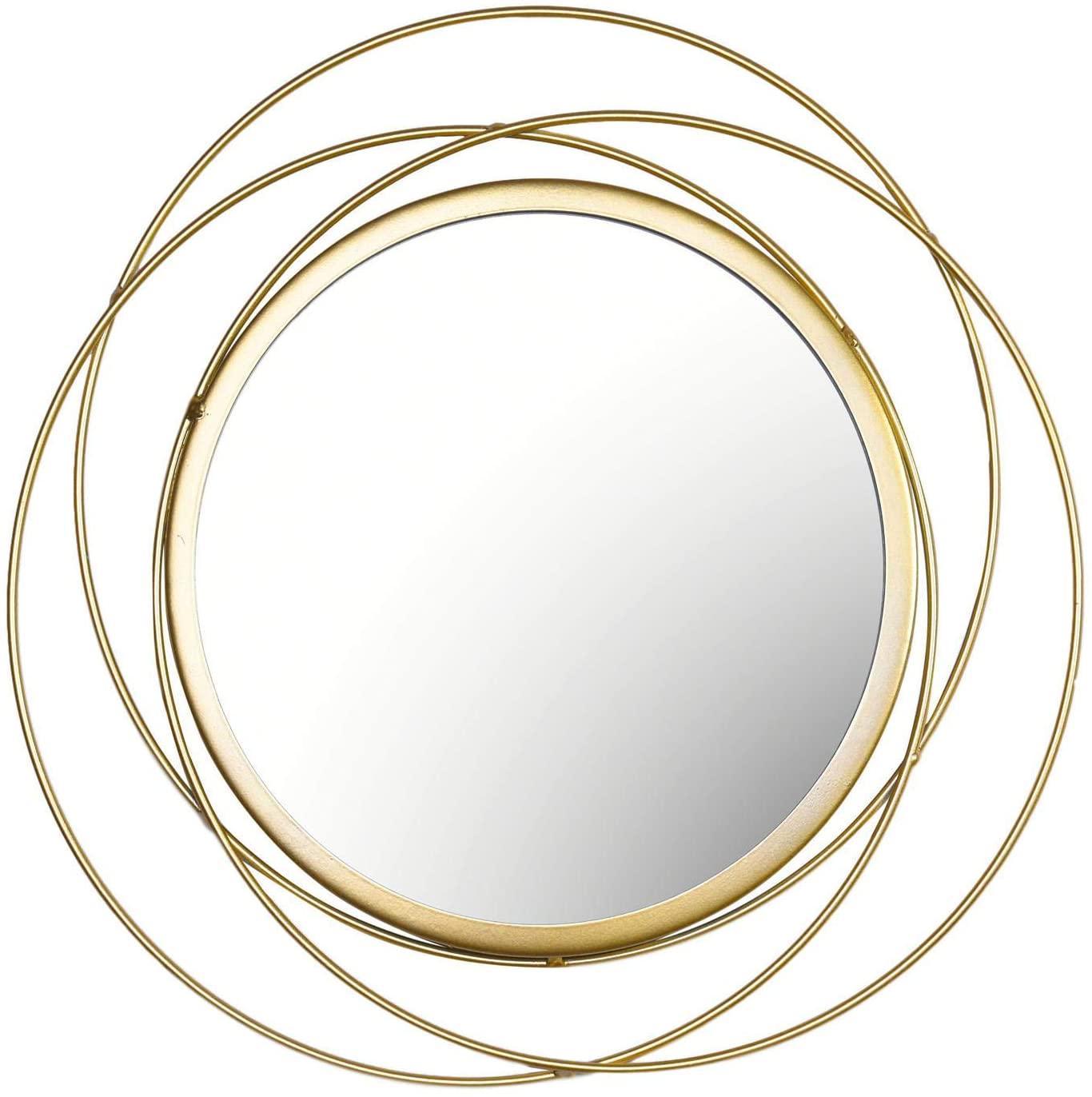 Espejo de pared colgante dorado