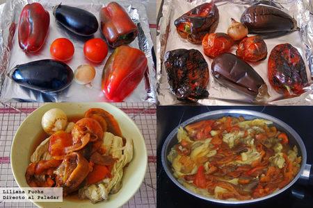 Ensalada de verduras asadas con aliño de cítricos. Pasos