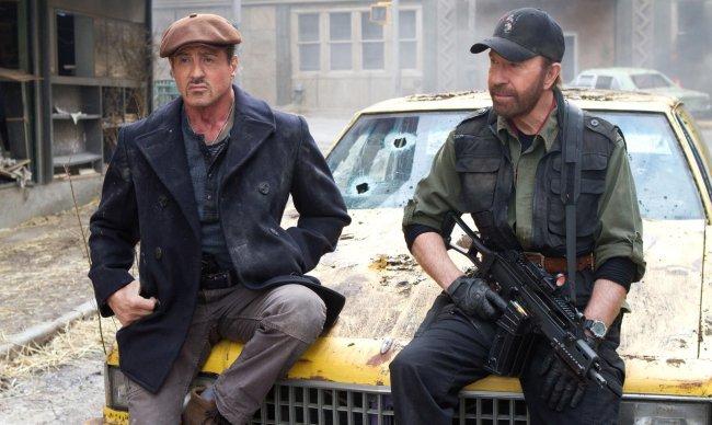 Sylvester Stallone y Chuck Norris en una escena de la película