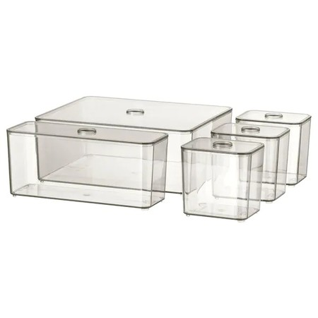 Godmorgon Box With Lid Set Of 5 Smoked 0802868 Pe768615 S5