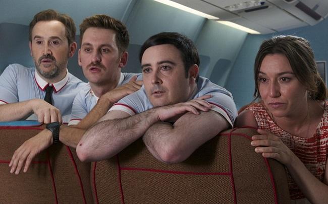 A bordo del avión de 'Los amantes pasajeros'