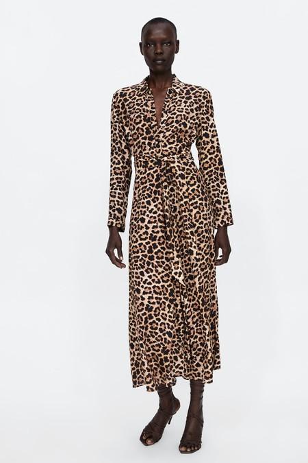 Find Vestido Midi Estampado Con Volantes Mujer Marrón Brown Medium