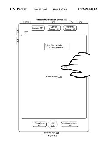 Imagen de una de las patentes de la demanda de Apple