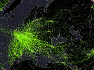 Los 30 millones de vuelos comerciales que recorren el mundo cada año, en un mapa interactivo
