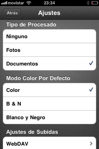 Opciones de procesado del documento