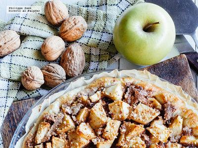 Tarta de manzana y chocolate. Receta fácil de postre