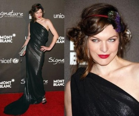 Mila Jovovich en la fiesta benéfica de Mont Blanc