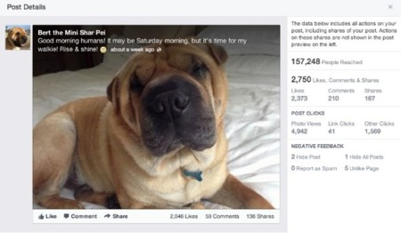 Estadísticas de un post de Facebook con el nuevo diseño