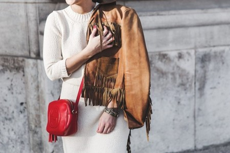 Fringed Jacket Polo Ralph Lauren Flame Sneakers Isabel Marant Gucci Disco Bag White Dress Outfit Street Style 25 790x527