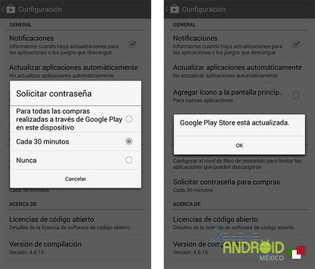 Google Play opciones