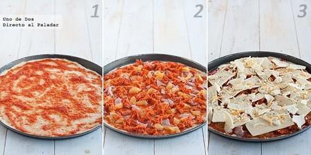 Receta de pizza de chistorra y pollo paso a paso