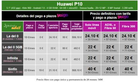 Precios Huawei P10 Con Pago A Plazos Y Tarifas Yoigo