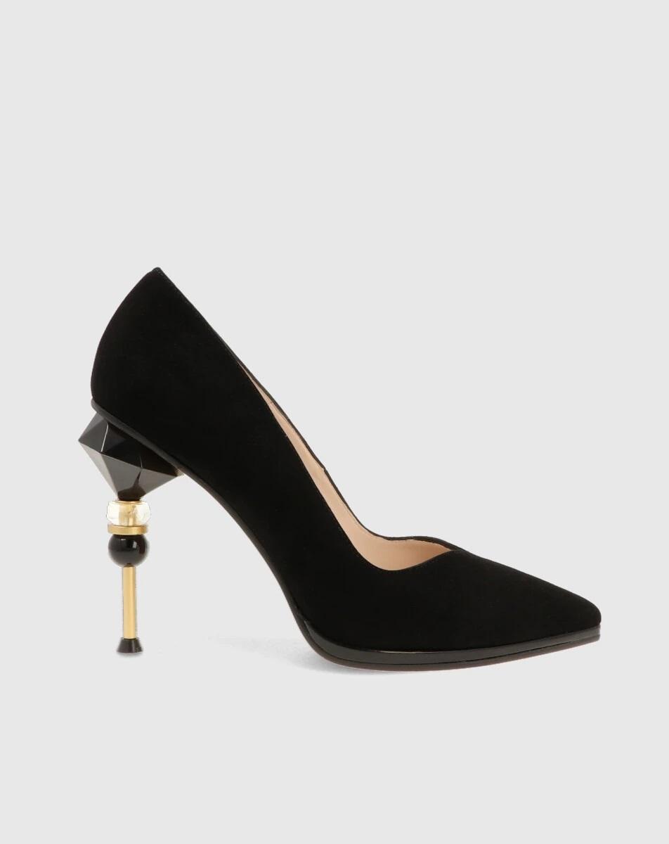 Zapatos de ante con tacón geométrico de Lodi