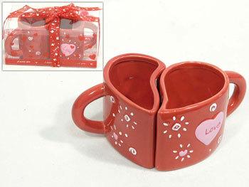 San Valentín: Taza dúo con forma de corazón
