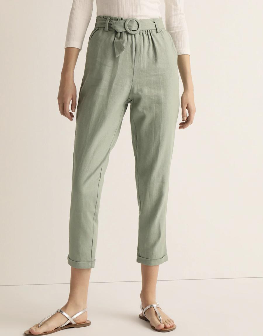 Pantalón con lino de mujer con cinturón