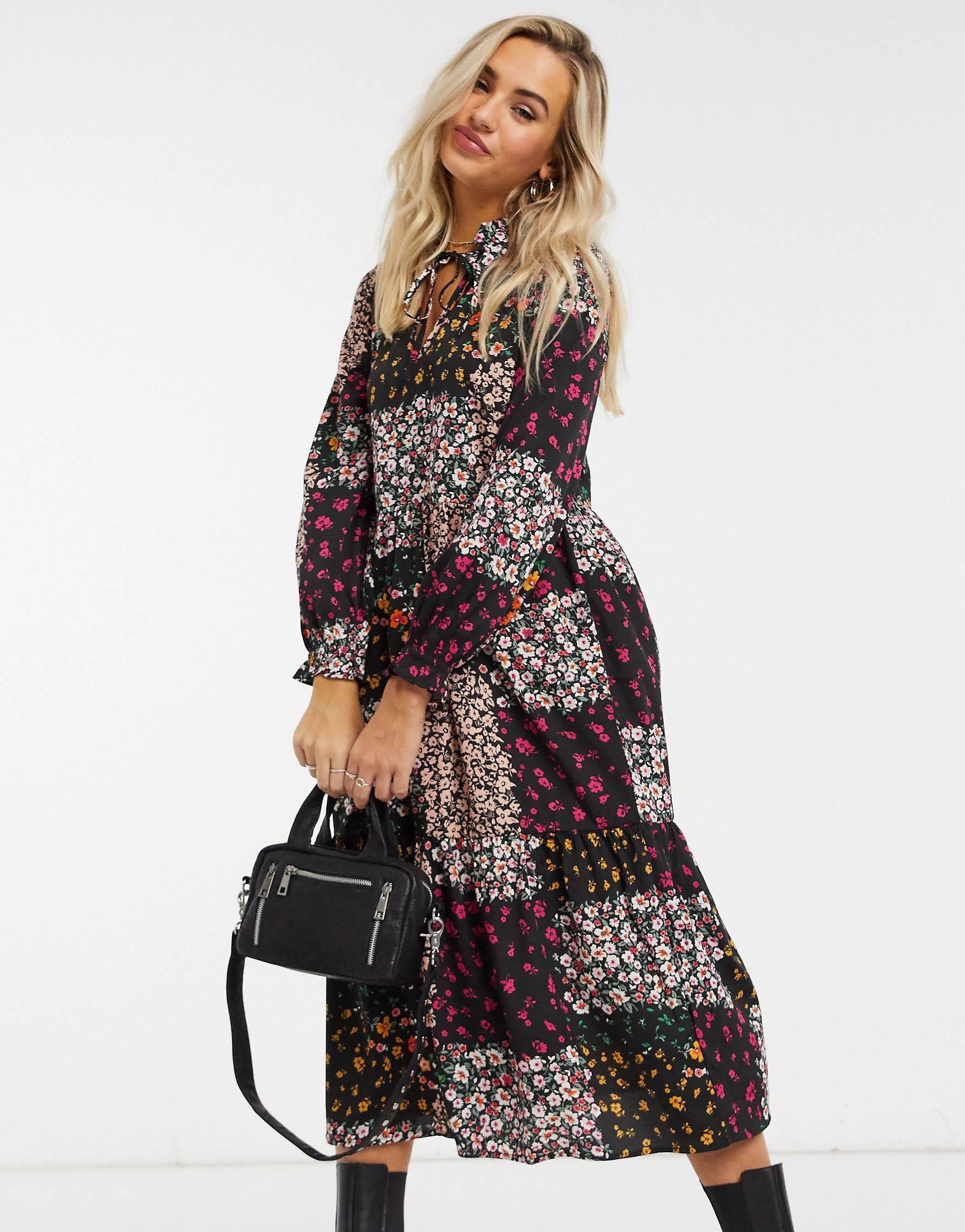 Vestido estampado floral patchwork