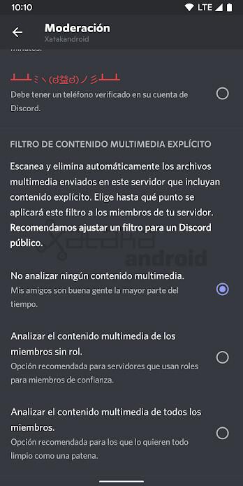 Discord Filtro Contenido Explícito