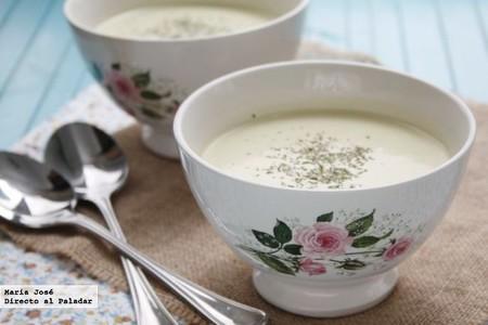 Sopa fría de manzana y puerro. Receta con Thermomix