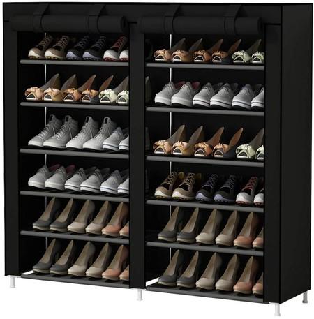 Udear Shoes Rack Organizador De Tela De Zapatos Zapatero 7 Pisos Con Resistente Al Polvo Negro