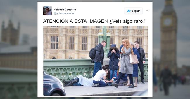 No hay nada raro en la mujer con hijab que camina frente a un herido en Londres: solo islamofobia