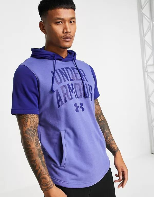 Sudadera azul de manga corta con capucha y logo Collegiate de Under Armour Training