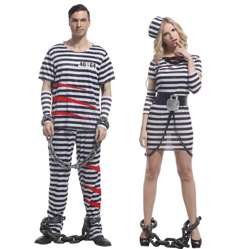 Umorden Halloween fiesta de Carnaval prisionero trajes para hombres y mujeres adultos violentos disfraz de prisionero vestidos de lujo conjunto