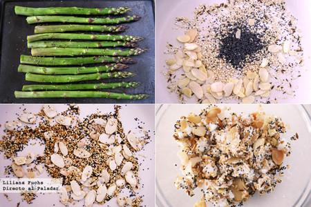 Espárragos verdes con queso de cabra y semillas crujientes. Pasos