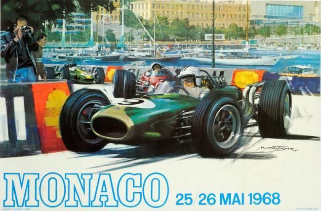 Póster Original Gran Prix Mónaco 1968