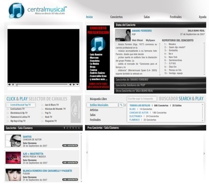 Centralmusical, salas de conciertos en directo a través de la web
