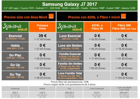 Precios Samsung Galaxy J7 2017 Con Pago A Plazos Y Tarifas Orange