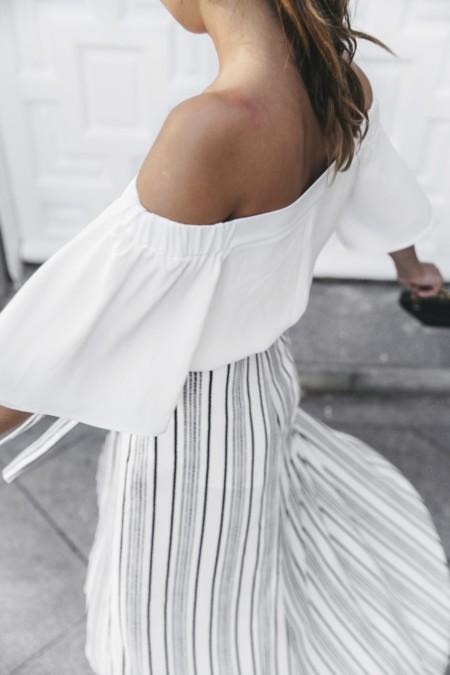 River Island El Imparcial Striped Skirt Off Shoulders Top Lace Up Sandals Chanel Vintage Bag 15 1400x2100