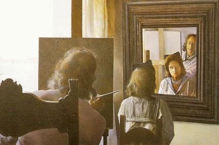Dali Salvador Dali pintando a Gala de espaldas 1