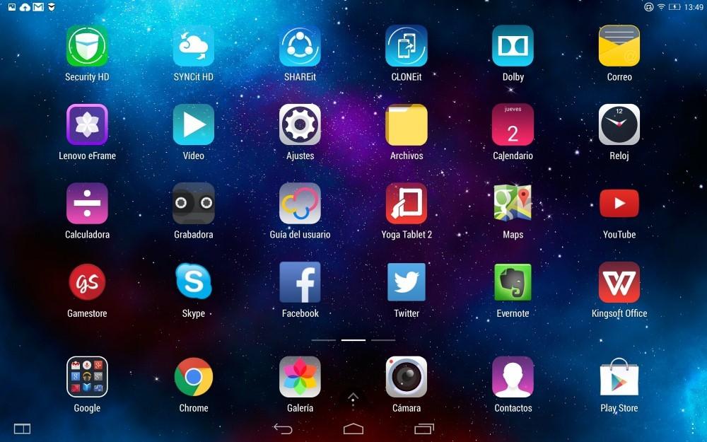 Capturas SO Lenovo Yoga Tablet 2