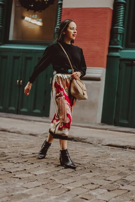 scarf print street style