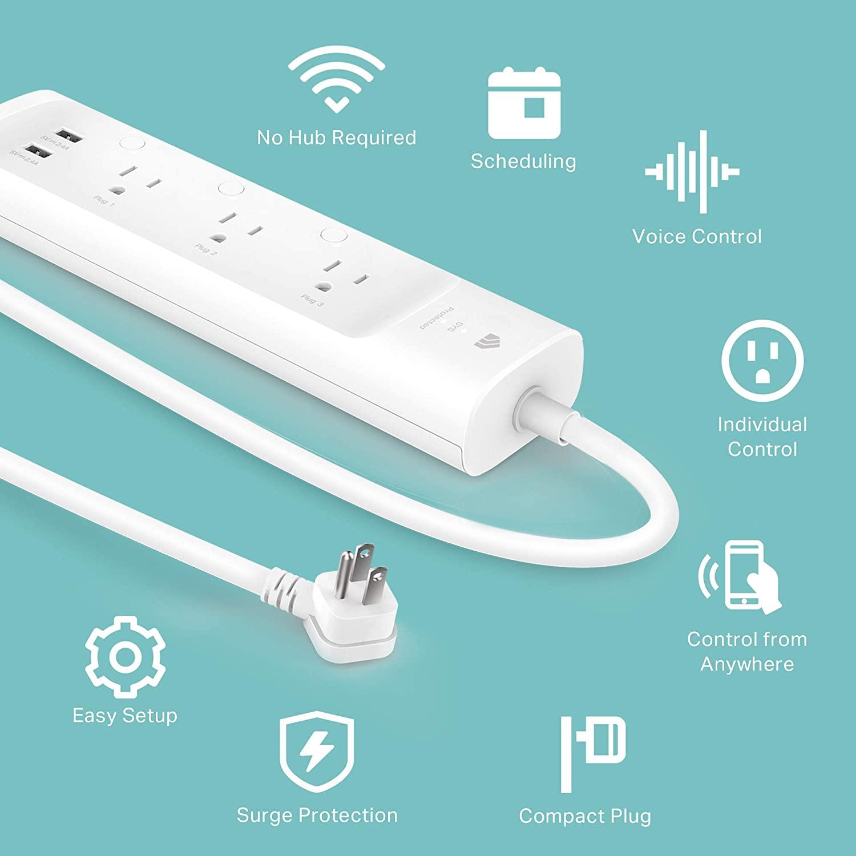 Kasa Smart KP303 Plug Power Strip, Protector de sobretensión, Tomas Inteligentes y 2 Puertos USB, Funciona con Alexa Echo y Google Home, no Requiere concentrador