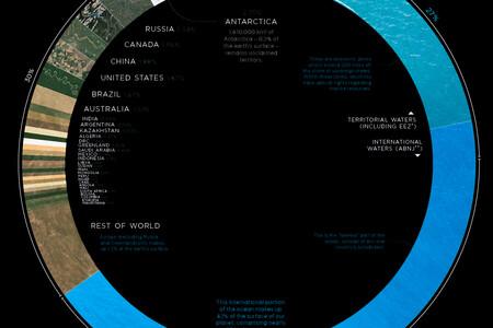 El porcentaje de superficie terrestre que ocupa cada país del mundo, en un original mapa