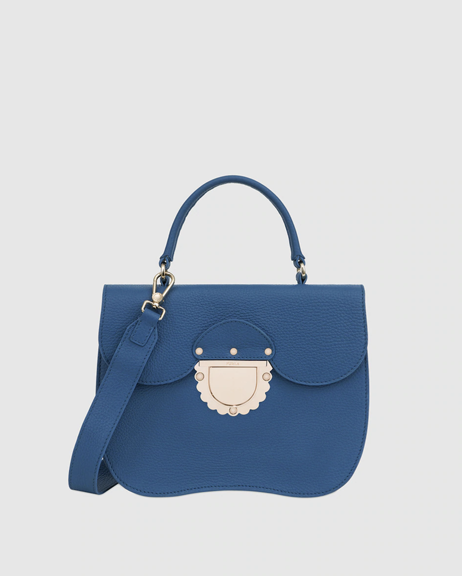 Bolso de mano pequeño Ducale de piel en azul con asa bandolera