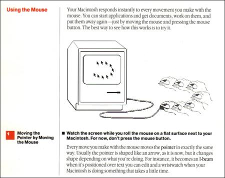 usando el ratón primer Macintosh