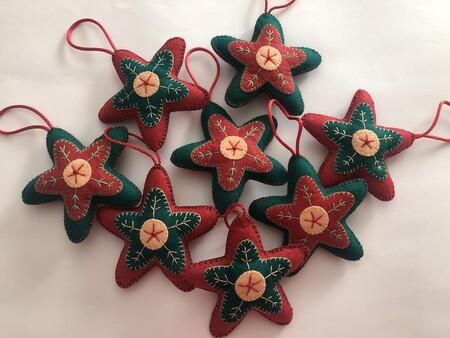 Set De 8 Adornos Navidad En Fieltro Cosidos A Mano