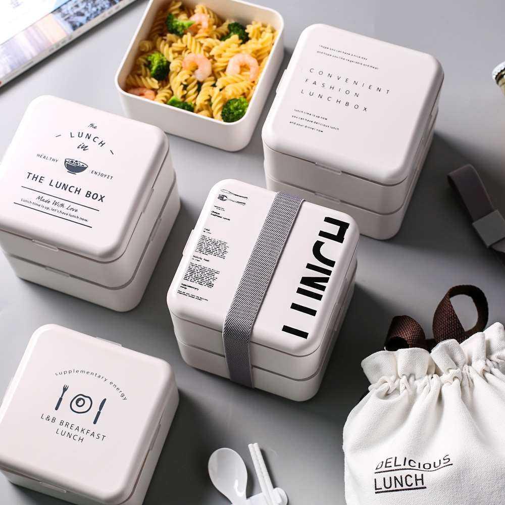 Set de cajas para la comida con diseño tipográfico apilables