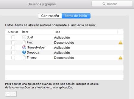 Items Arranque Mac